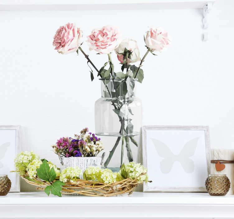 TenStickers. 장미 스티커가 든 항아리. 집에 자연스럽고 현대적인 느낌을주는 장식용 꽃 무늬 데칼. 이 꽃 벽 스티커는 lamai의 독창적이고 상세한 그림입니다.