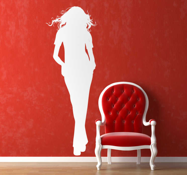 TenStickers. Woman Silhouette Decal. Room Stickers - Elegant design of a silhouette of a young woman with long hair and legs.