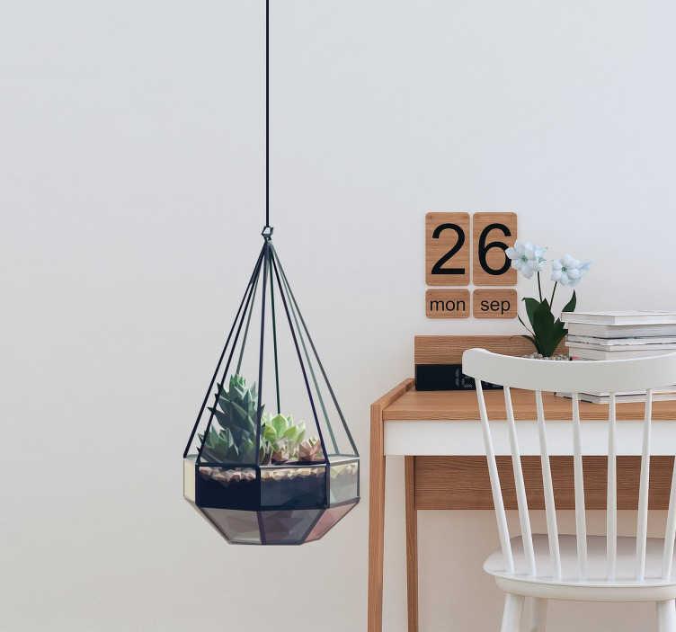 TenStickers. Visící samolepka. Krásná nástěnná samolepka rostliny moderního skleníku visící na stěnách vašeho domu. Tato ilustrace od katalánského umělce lamai byla vyrobena výhradně pro tenzidy a je perfektním doplňkem k vašemu domácímu dekoru, který poskytuje přírodní a domácí vzhled.