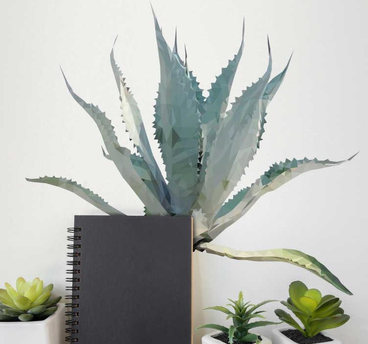 TenVinilo. Vinilo decorativo planta poligonal puntas. Crea la ilusión que de las paredes de tu casa hay una moderna planta con uno de nuestros vinilos pared originales.