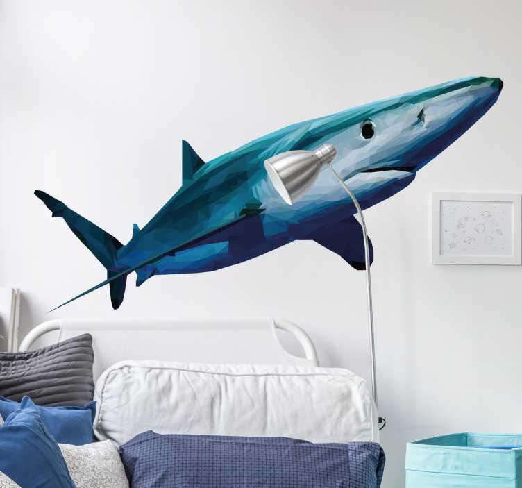 TenStickers. 그래픽 상어 벽 스티커. 상어 팬들의 방을 장식하는 무시 무시한 상어의 장엄한 디자인. 시원한 상어 데칼은 일련의 기하학적 모양으로 형성됩니다.