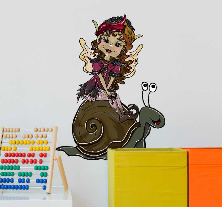 TenStickers. Pixie On Snail Sticker. Children's sticker with an original illustration of a cute pixie girl riding on the back of a snail.