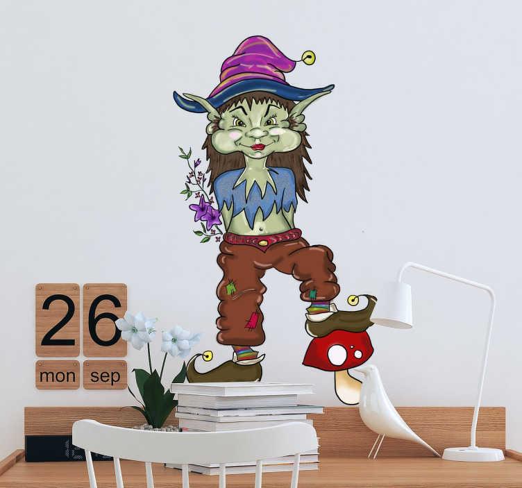 TenVinilo. Vinilo infantil ilustración duendecillo. Vinilos decorativos para los más pequeños de casa con una original ilustración de elfo del bosque.