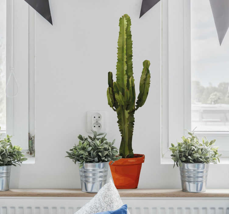 TenStickers. Geometric Potted Cactus Sticker. A geometric wall sticker from our plant stickers collection showing a vibrant green cactus in a simple brown pot.
