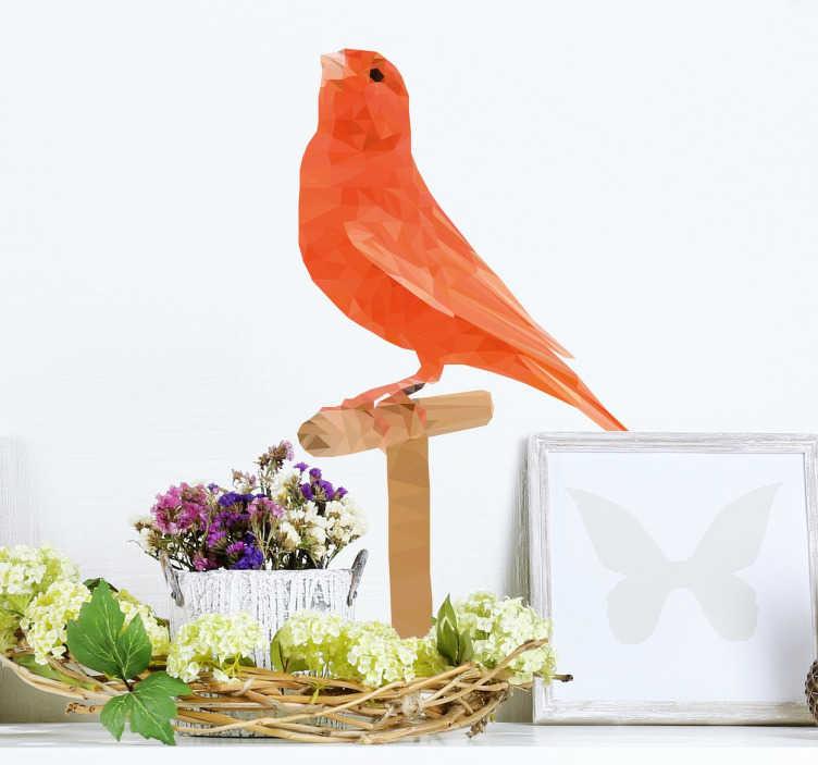 Sticker oiseau polygonal sur une perche