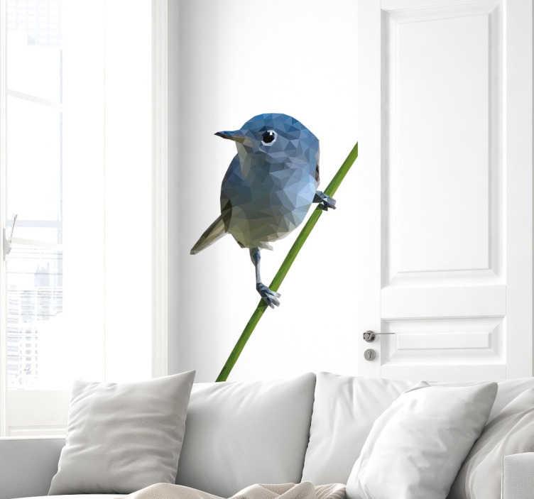 TenStickers. 分支贴纸上的多边形鸟. 从我们的鸟墙贴纸系列中汲取灵感的美丽几何墙贴。一只甜美的蓝鸟栖息在树枝上,在你家的任何房间看起来都很棒。结合自然和现代的外观来装饰您的墙壁,并为您的装饰添加一些特别的东西。
