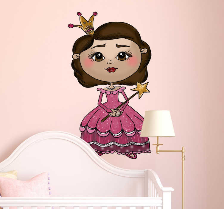 TenStickers. Sticker enfant princesse baguette. Sticker décoratif pour enfant représentant une jolie princesse vêtue d'une robe rose élégante.