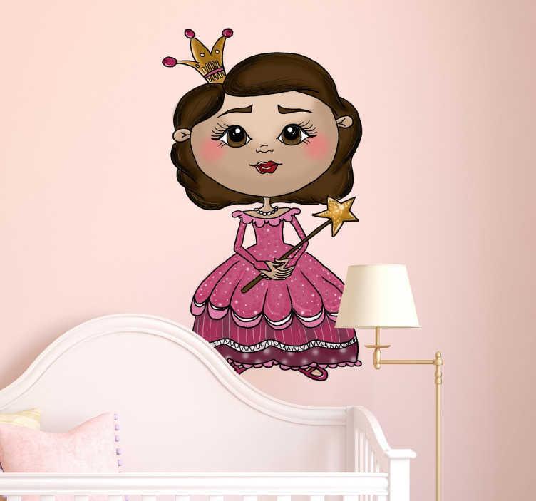 TENSTICKERS. リトルプリンセスキッズステッカー. エレガントなピンクのドレスを着たかわいいプリンセスのオリジナルイラスト付きの、若い女の子のための装飾的なステッカー。