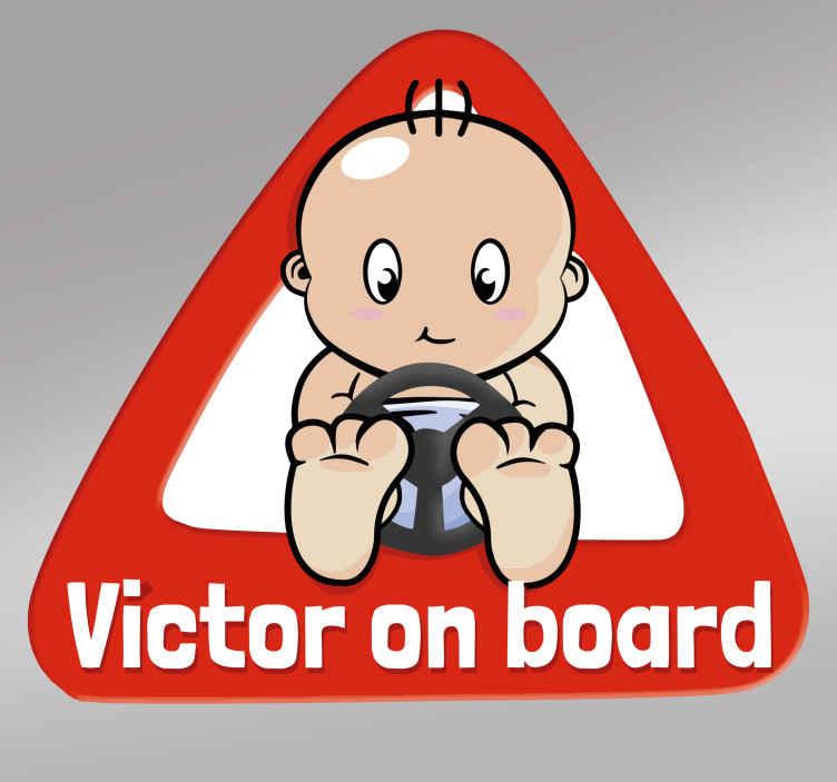 TenStickers. On board personalisierbarer Sticker. Der Auto-Aufkleber signalisiert den anderen Verkehrsteilnehmern, das Sie ein Baby oder Kind in Ihrem Auto haben.