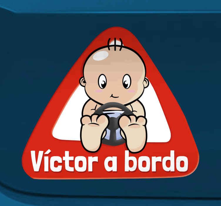 TenStickers. Adesivo personalizzabile a bordo. Adesivo decorativo per la tua auto, personalizzabile con il nome di tuo figlio.