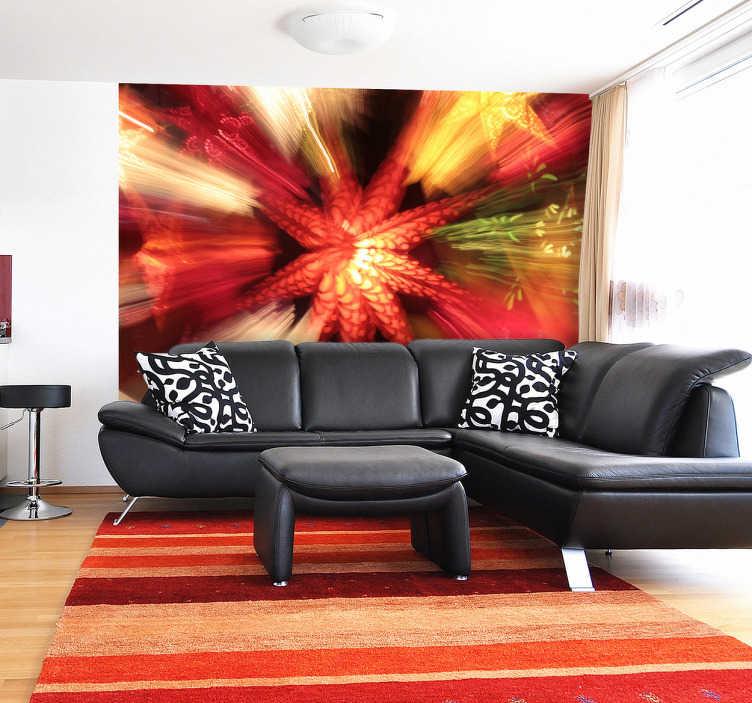 TenStickers. Mural de parede estrela festa. Mural de fotos - fotografia original em movimento. Adicione cor a qualquer ambiente com este mural de parede decorativo e suas cores quentes.