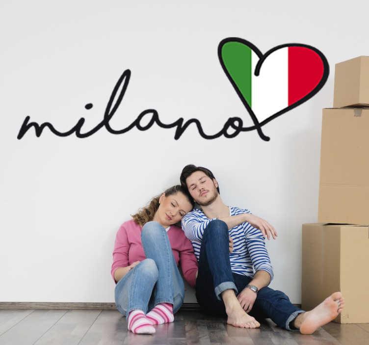 TenStickers. Milano Wandtattoo. Bringen Sie Mailand als Wandtattoo in Herzform an Ihre Wand.