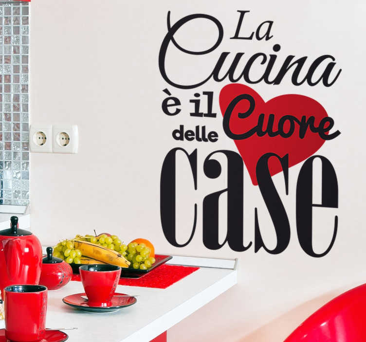 Wall sticker la cucina il cuore tenstickers for Stickers cucina