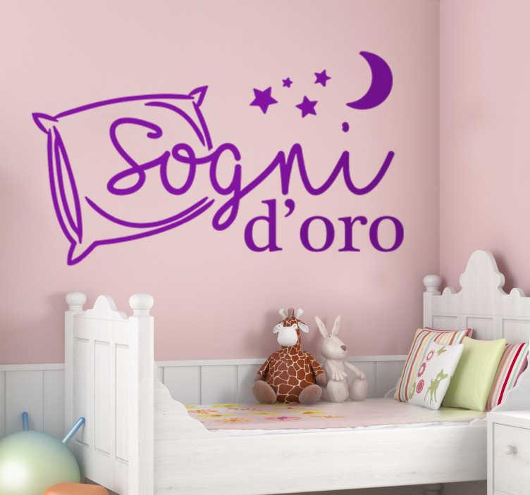 TenStickers. Wall Sticker Decorativo Sogni d'Oro. Wall sticker decorativo che raffigura la dolcissima scritta Sogni d'oro, ed un cuscino alcune stelline ed una luna.