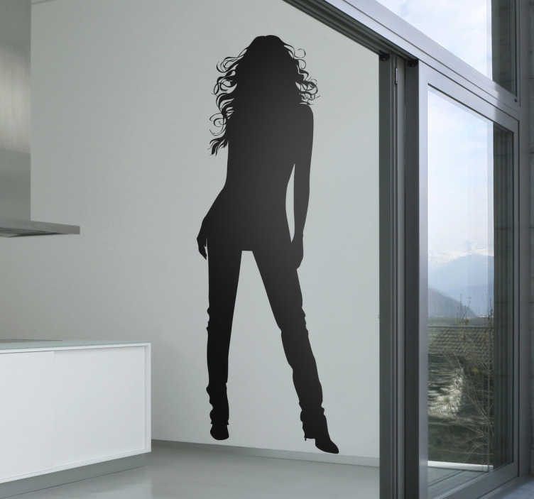 TenStickers. Woman Silhouette Sticker. Room Stickers - Elegant sexy design of a silhouette of a young woman with long hair and legs. Ideal for decorating your home or business.