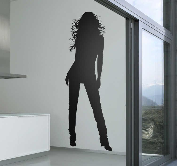TenVinilo. Vinilo decorativo silueta pose mujer. Pegatina con la silueta de una mujer de pelo largo en posición frontal. Vinilo decorativo original disponible en distintas medidas y en cincuenta colores diferentes a tu elección.
