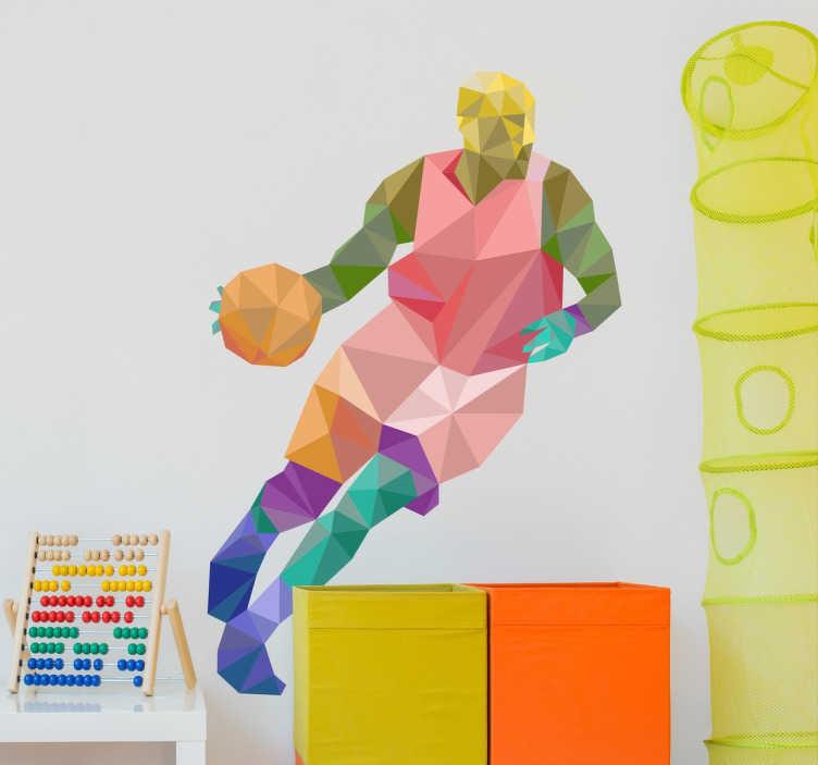 TenVinilo. Vinilo decorativo baloncesto origami. Vinilos de baloncesto ideales para darle vida y color a la habitación de los más jóvenes de casa.