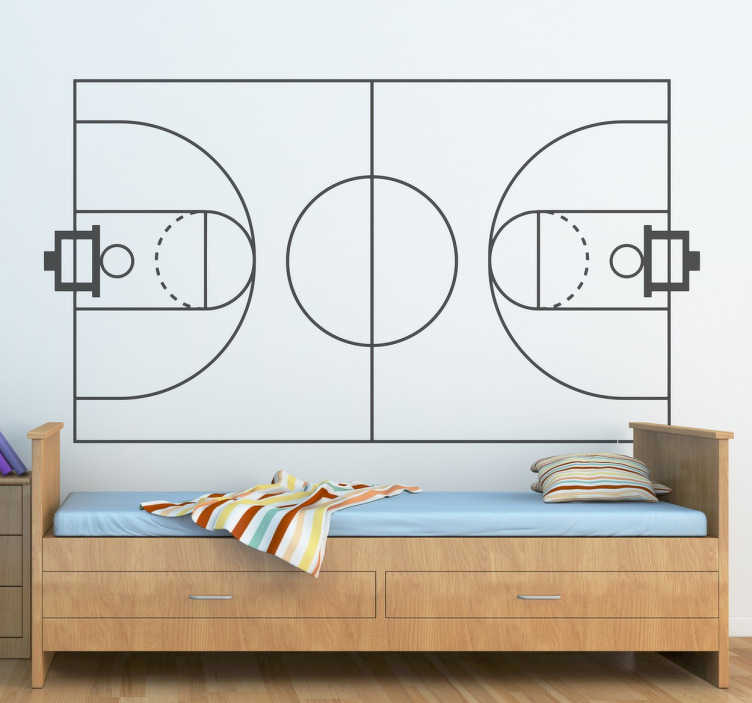 TenStickers. Basketball Court Mono-Colour Sticker. Decorate any room in your home with wall sticker of your favourite sport.
