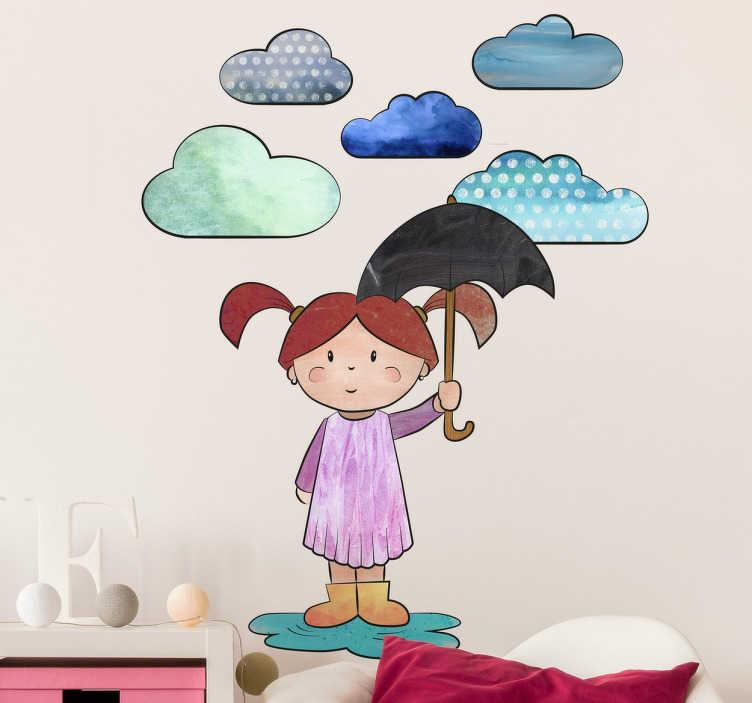 TenVinilo. Vinilo decorativo infantil niña en charco. Vinilos decorativos infantiles con un diseño original de tenvinilo.com de una niña con paraguas bajo la lluvia.