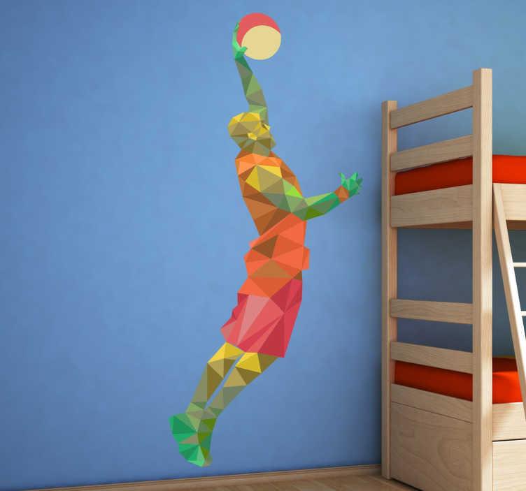 TenStickers. 기하학적 농구 선수 스티커. 농구 벽 스티커 - 슬램 덩크를 만들려는 플레이어의 멋진 디자인. 십대의 방이나 스포츠 센터에 삶과 색채를 제공합니다.