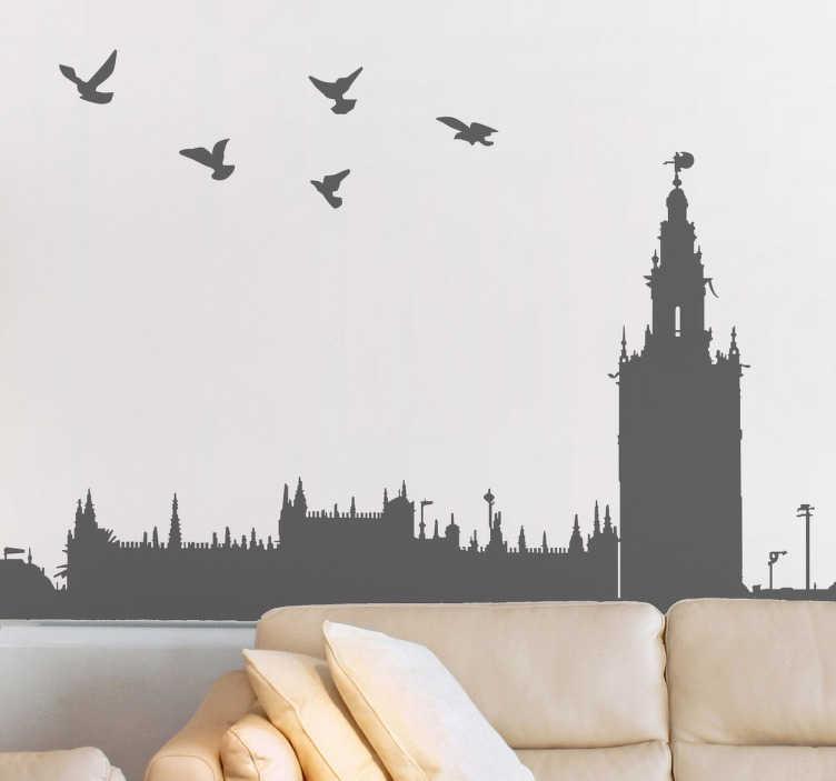 TenVinilo. Vinilo decorativo perfil Giralda Sevilla. Murales y vinilos con la silueta de los edificios más emblemáticas de la capital hispalense.