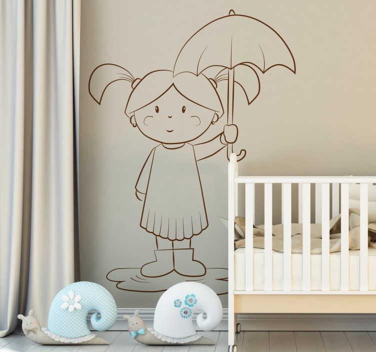 TenStickers. Naklejka na ścianę dziewczyna z parasolem. Dekoracyjna naklejka na ścianę dla dzieci, która z pewnością wywoła uśmiech na twarzy Twojego dziecka.