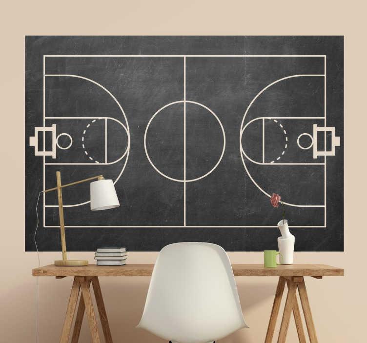 TenStickers. Naklejka - tablica kredowa boisko do kosza. Fantastyczna naklejka na ścianę, która jest jednocześnie tablicą kredową, przedstawiająca boisko do koszykówki!