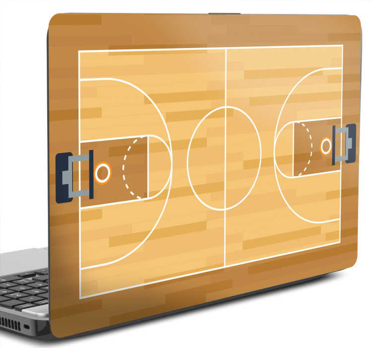TenStickers. Adesivo Campo de Basquetebol para Portátil. Sticker basquetebol para personalizares o teu portátil ou tablet com a recreação de um campo de basquetebol.