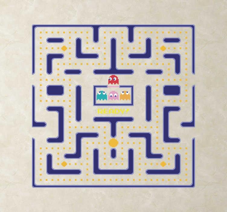 TenStickers. Naklejka na ścianę PacMan. Dekoracyjna naklejka na ścianę dla wszystkich miłośników gier, a w szczególności dla wielbicieli klasycznej już gry, Pac Man.