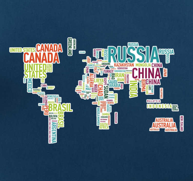 TenStickers. Arka plan etiketi ile ülkeler dünya haritası. Beyaz bir arka plan ile parlak ve renkli metin içinde ülke isimlerinden oluşan bir dünya haritası duvar sticker. Duvarlarını süslemek için seyahat etmeyi seven insanlar için uygun olan modern bir tasarım, onlara uygun bir şekilde.