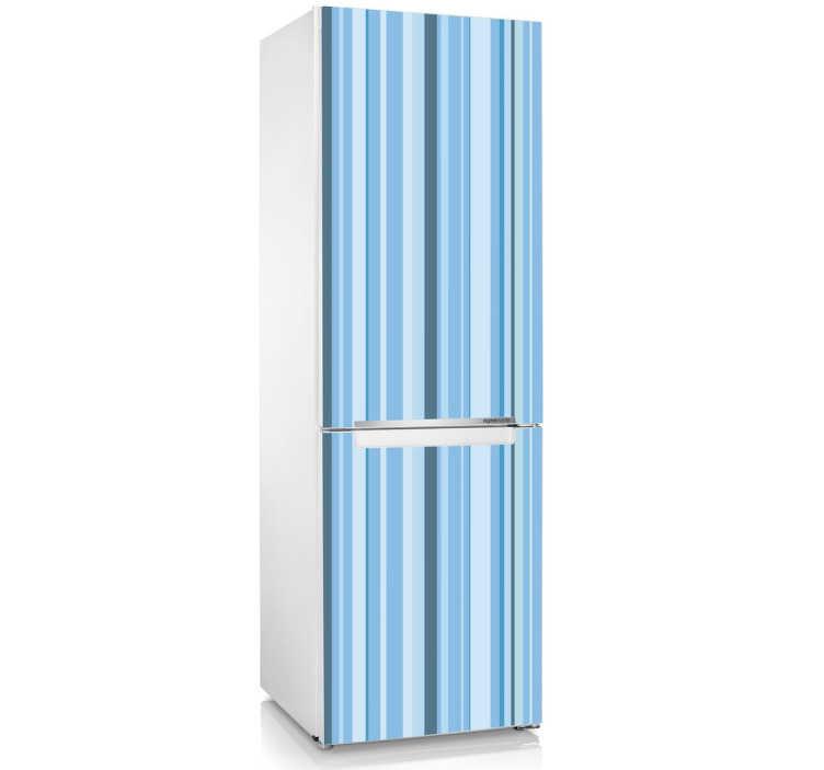 TenStickers. Blauwe Gestreepte Koelkast Sticker. Een simpel maar indrukwekkend design met blauwe strepen als decoratiesticker voor uw koelkast! Afmetingen aanpasbaar. +10.000 tevreden klanten.