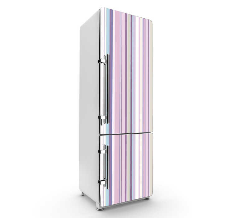 TenStickers. Rosa Kühlschrank Aufkleber. Das vertikale geradlinige Design mit einer Kombination verschiedener rosa, lila, Farbtönen bringt Farbe an Ihren Kühlschrank und in Ihre Küche