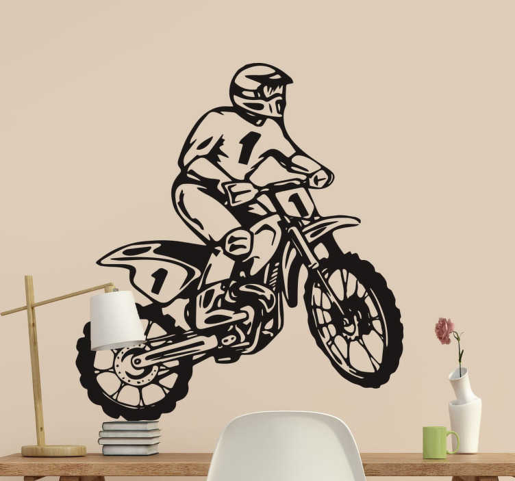 TenStickers. Motocross Racer Sticker. Decorative sticker that is ideal for those who are enthusiasts of the world of racing, specifically motocross racing with dirt bikes.