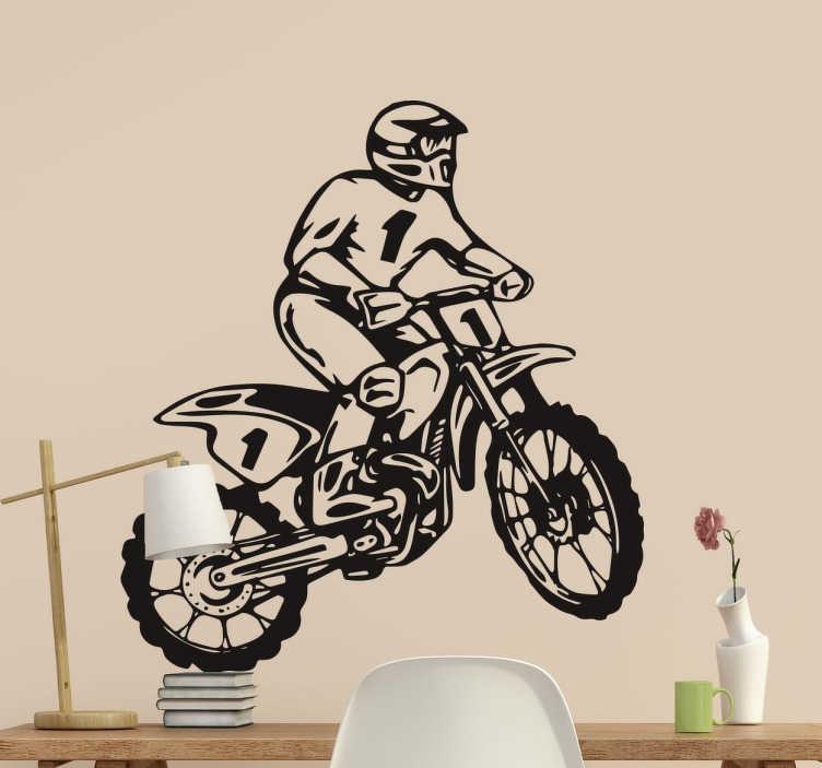 TenStickers. Sticker décoratif. Sticker décoratif idéal pour tous les fans de moto et plus précisément de motocross.
