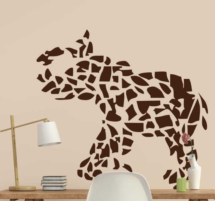 TenVinilo. Vinilo decorativo elefante mosaico. Vinilo decorativo de un elefante creado a través de un mosaico de diferentes piezas en el que se intuye esta figura y que está llevando la trompa a la cabeza.