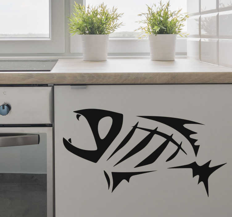 TenStickers. Fiskeben sticker. Silhuetten af et fiskeskelet, der er tilbage fra en fisk, der er blevet spist.  En usædvanlig og alternativ wallsticker, som du kan placere i dit køkken.