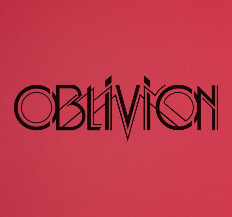 """TenStickers. Oblivion Game Sticker. A text sticker with the word """"oblivion"""" a symbol that means """"forgetting"""". A recognised title of a multitude of series, movies and video games."""