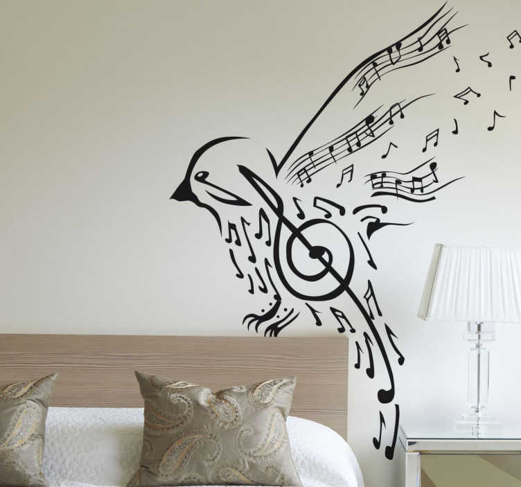 TenStickers. Muziek Vogel Muursticker. Een indrukwekkende muursticker die een vogel met muzieknoten illustreert. Kleur en afmetingen aanpasbaar. Voordelig personaliseren.