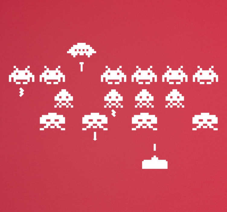 TenStickers. sticker space invaders. sticker Space Invaders applicable sur toutes surfaces et personnalisable.