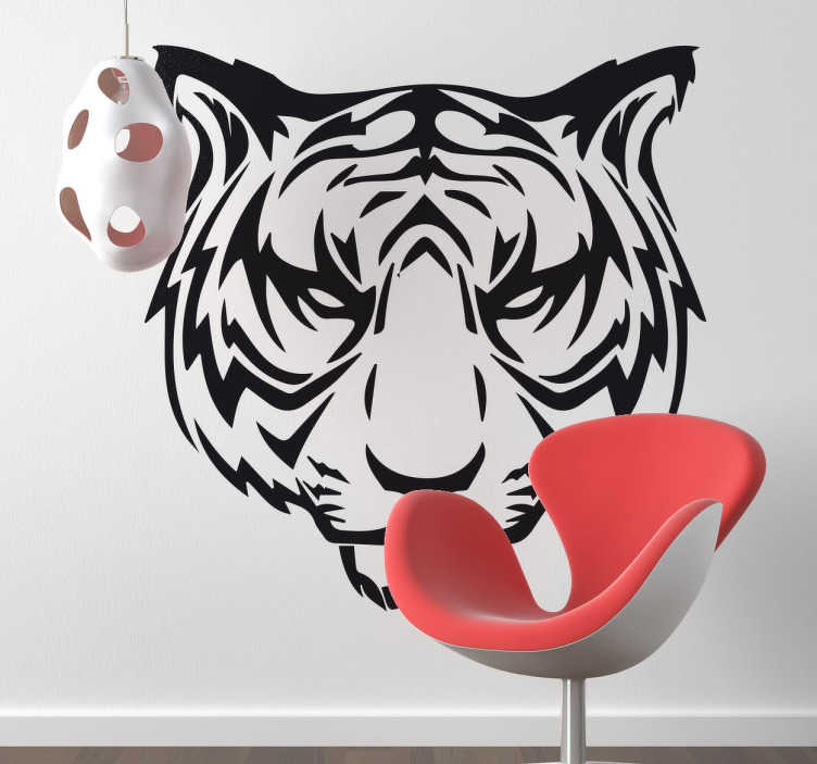 TenStickers. Scowling Tiger Sticker. Incredible design of one of the fiercest animals on the face of the earth.