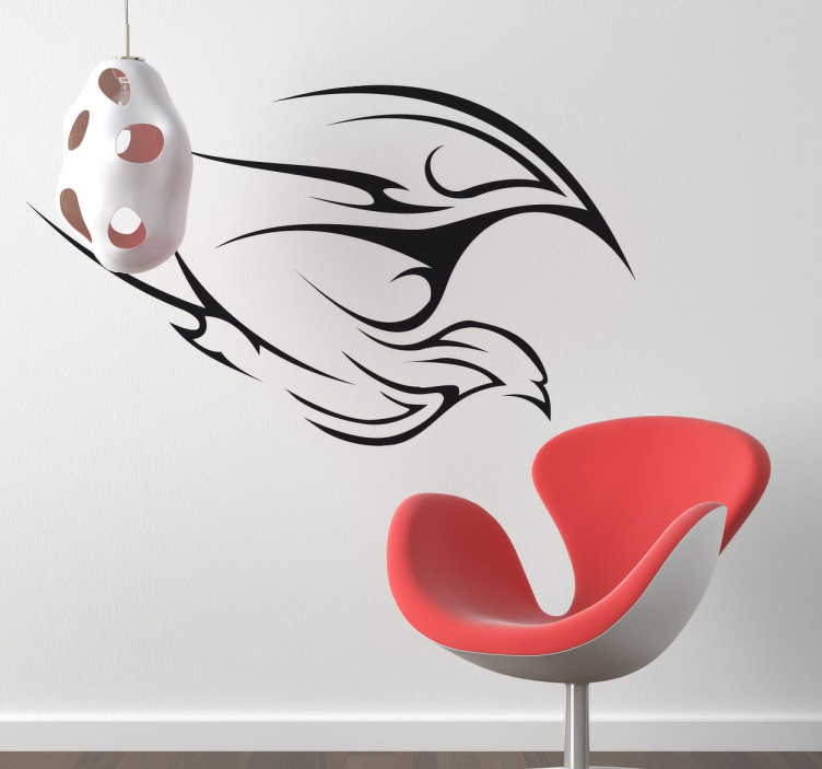 TenStickers. Autocolante decorativo traço de ave. Um sticker tribal de uma ave a levantar voo e a bater as asas. Desenho parece ter sido feito com pincel.