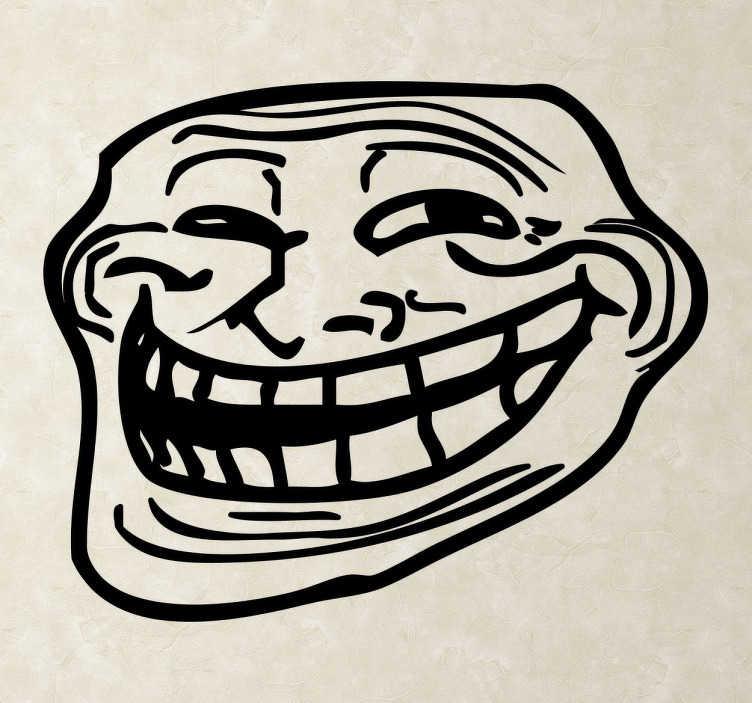 TenStickers. Troll face Muursticker. Deze muursticker omvat het silhouet van het wereldberoemde troll face. Verkrijgbaar in verschillende kleuren en maten. Voordelig personaliseren.