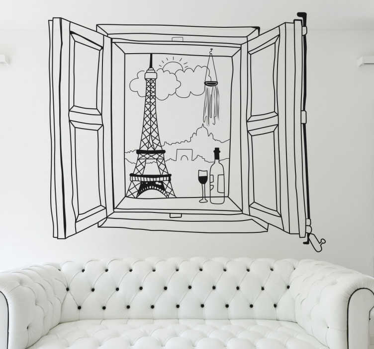 TenStickers. Paris Window View Sticker. 3D effect wall sticker of an open window with a view of Paris in the background, next to a bottle of wine and glass on the window ledge. An original drawing that is perfect for lovers of this beautiful French city.