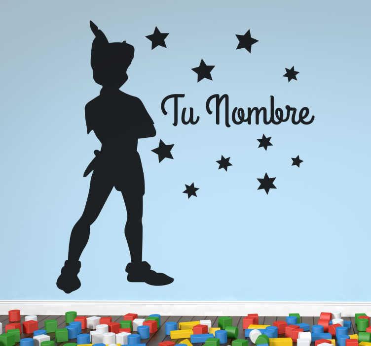 TenVinilo. Vinilo infantil peter personalizable. Vinilo peronalizable Peter Pan con una serie de estrellas alrededor y el nombre de tu hijo en una bonita letra que no dejará indiferente a nadie.