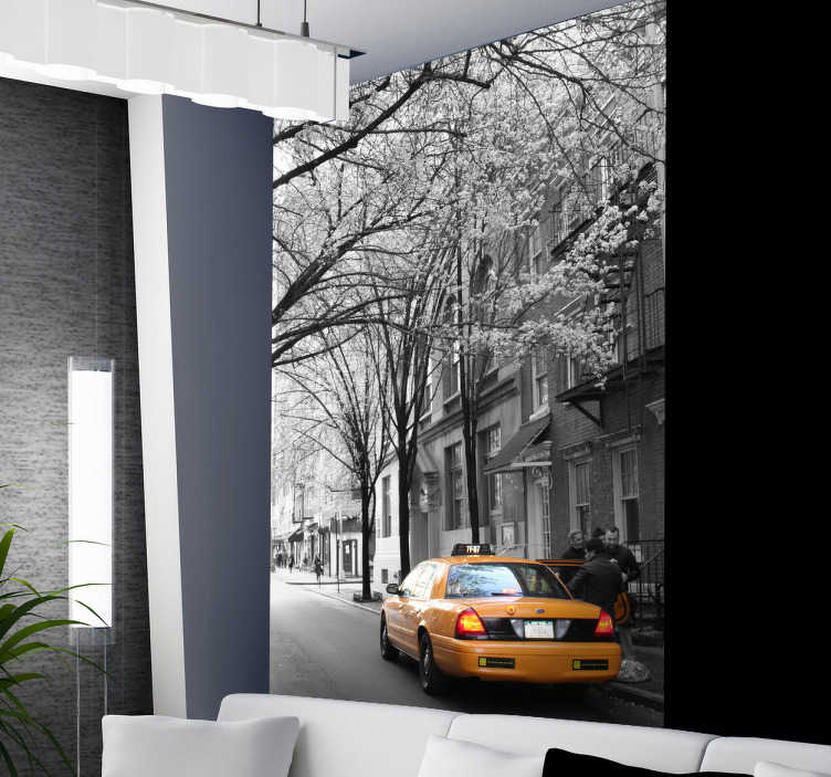 TenStickers. Spring New York Wall Mural. Photo Mural - A shot of a New York street capturing a yellow taxi. Ideal for those with a love for the Big Apple.