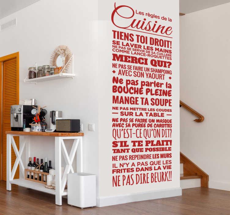 TenStickers. Sticker texte les règles de la cuisine. Sticker texte original et amusant dans lequel sont repris toutes les règles à respecter dans la cuisine.