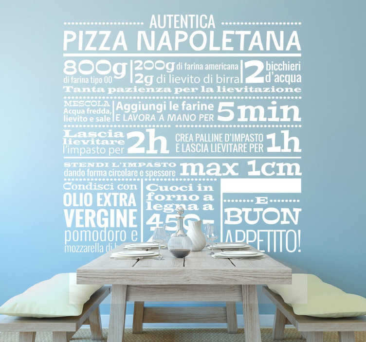 TenStickers. Adesivo Ricetta Pizza. Adesivo murale che raffigura la ricetta della famosa pizza napoletana.