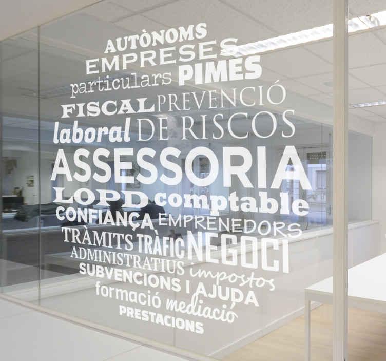 TenVinilo. Vinilo para asesoría conceptos catalán. Vinilos adhesivos con una nube de palabras relacionados con términos legales y de asesoría.