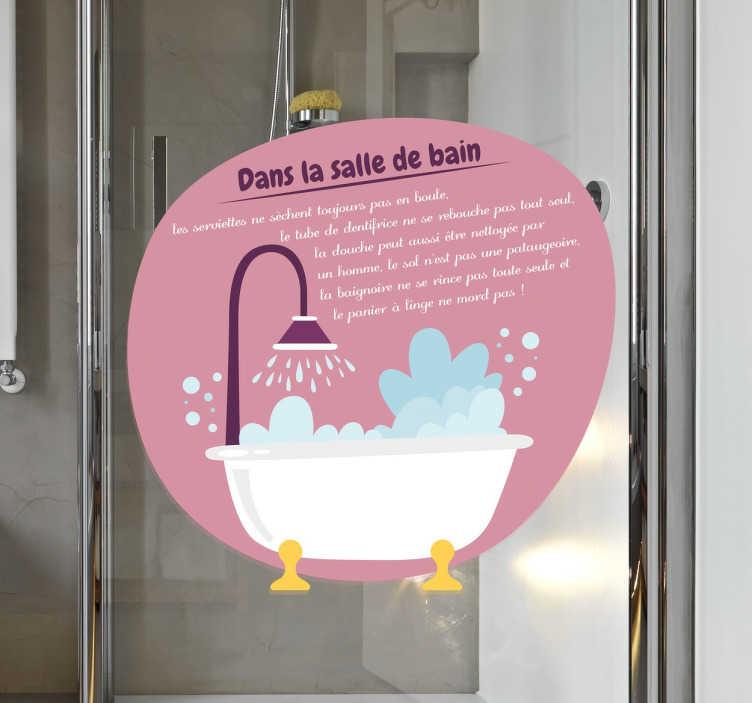 TenStickers. Sticker texte salle de bain. Sticker texte pour salle de bain qui résume de façon amusante les différentes règles à respecter dans la salle de bain.