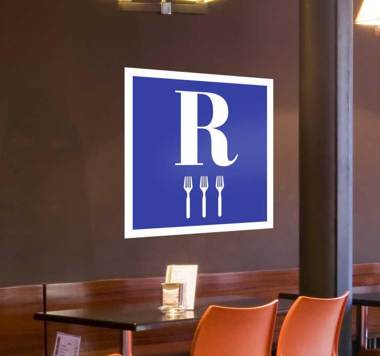 TenStickers. Naklejka na ścianę do restauracji. Naklejka na ścianę dla gastronomii, jeżeli chcesz pokazać gościom wysoką jakość swoich usług, wykorzystaj naszą naklejkę o uniwersalnej ikonografii.
